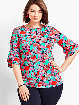 Womans Exclusive Floral Knit Jersey Flutter-Sleeve Top