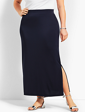 Womans Exclusive Knit Jersey Maxi Skirt