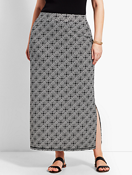 Plus Size Exclusive Tile Knit Jersey Maxi Skirt