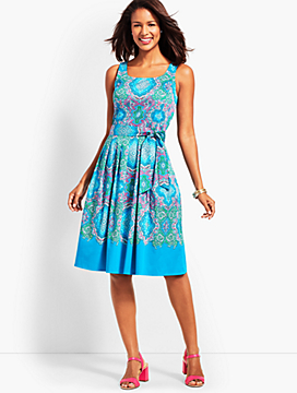 Retro Paisley Fit-and-Flare Dress