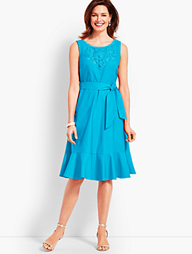 Embroidered Sateen Fit-and-Flare Dress