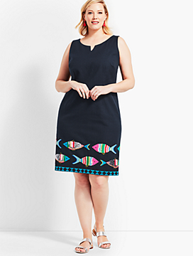 Embroidered Fish Sheath Dress