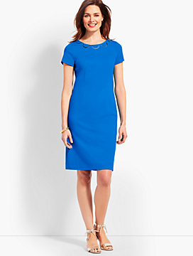 Embroidered Ponte Sheath Dress