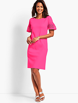 Eyelet Interlock Shift Dress