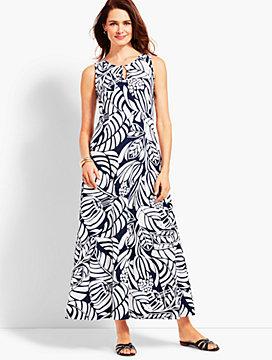 Graphic Botanical Jersey Maxi Dress