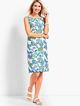 Paisley Scallop-Hem Sheath Dress