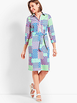 Island Patchwork Belted Shirtdress