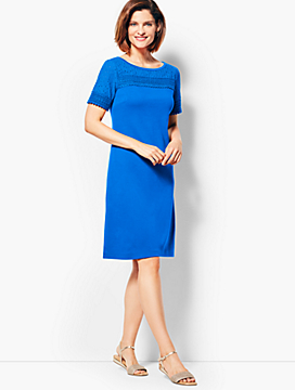 Lace-Trimmed Interlock Shift Dress