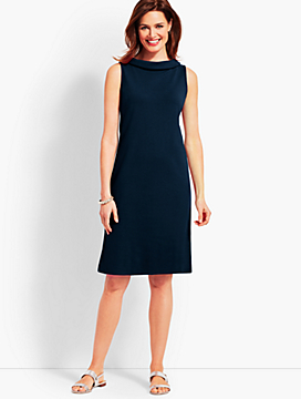 Audrey-Neck Interlock Shift Dress