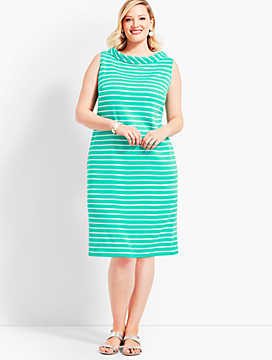 Audrey-Neck Stripe Interlock Shift Dress