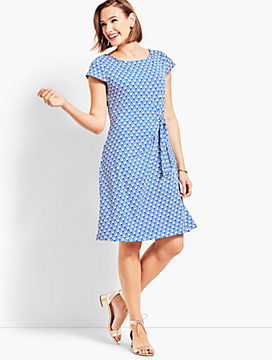 Scrolling Hearts Jersey Side-Tie Fit-and-Flare Dress