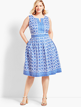 Geo Mixed-Print Fit-and-Flare Dress