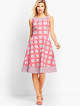 Mixed Geo-Print Fit-and-Flare Dress