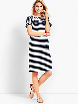 Ruffle-Sleeve Slub Jersey Stripe Shift Dress