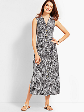 Sleeveless Cheetah-Print Shirtdress