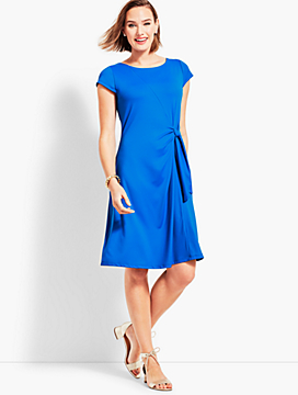 Solid Jersey Side-Tie Fit-and-Flare Dress