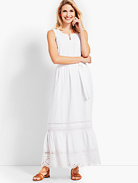 Pintucked Tiered-Hem Gauze Maxi Dress