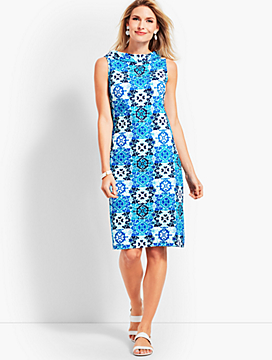 Audrey-Neck Medallion Tile Interlock Shift Dress