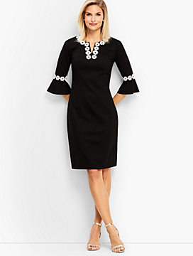 Embroidered Flounce-Sleeve Shift Dress