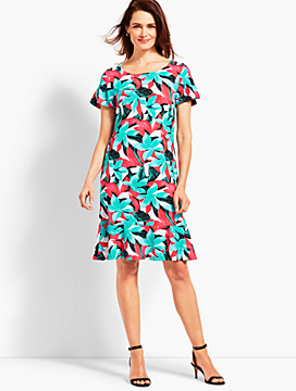 Botanical Jersey Shift Dress