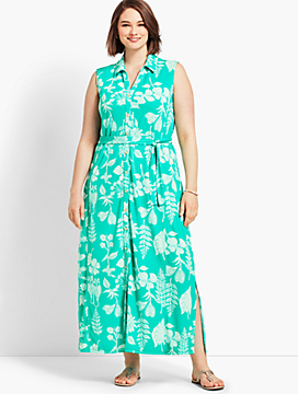 Sleeveless Garden-Print Shirtdress