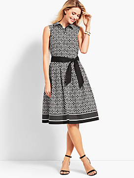Sleeveless Fit-And-Flare Geo-Diamond Shirtdress