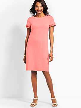 Ruffle-Sleeve Slub Jersey Shift Dress
