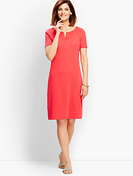 French Interlock Embroidered Shift Dress