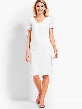 Embroidered Scallop-Hem Floral Eyelet Shift Dress