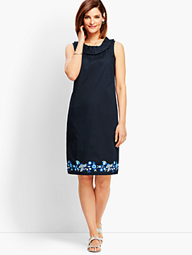 Embroidered Pleat-Neck Shift Dress