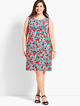 Womans Exclusive Floral Jersey Shift Dress