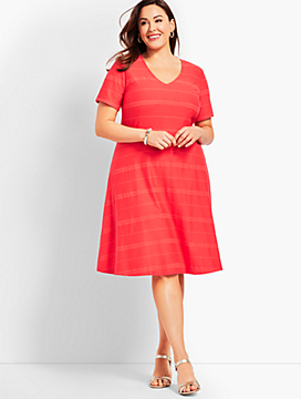 Womans Exclusive Embroidered Stripe Fit-And-Flare Dress