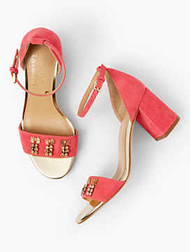 Bettie Jewel-Embellished Suede Sandals
