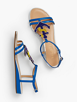 Daisy Micro-Wedge Sandals - Anchor Embellishment