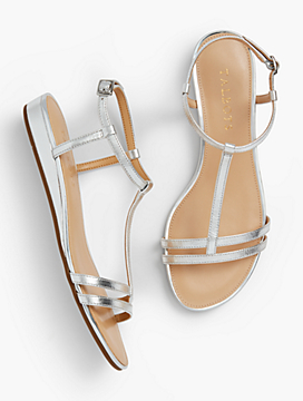 Capri Mini-Wedge Sandals - Metallic