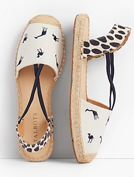 Ivy Espadrille Flats-Embroidered Giraffe