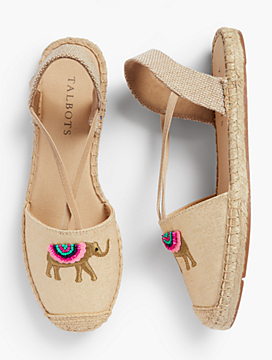 Ivy Espadrille Flats-Metallic Embroidered Elephant