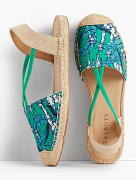 Ivy Canvas Espadrille Flats-Jungle Botanical