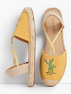 Ivy Cactus-Embroidered Silk Suede Espadrilles