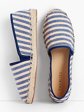 Izzy Blue & Natural Stripe Canvas Espadrille