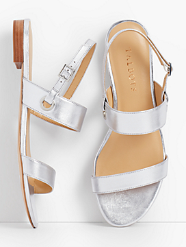 Keri Double Strap Sandals -  Nappa Metallic