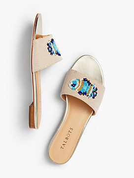 Keri Novelty Slide Sandals - Fish Motif