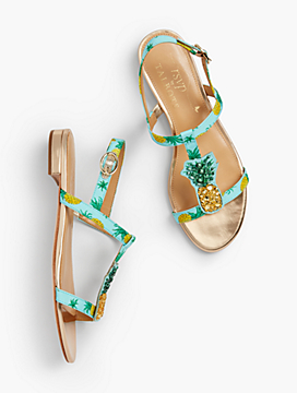 Keri T-Strap Sandals - Pineapple Faille