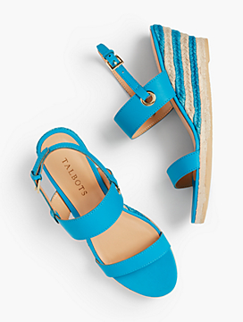 Lyndsay Woven Espadrille Wedges - Nappa with Stripe Heel