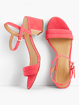 Mimi Suede Block-Heel Sandals