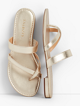 Gia Toe-Ring Sandals - Metallic Nappa