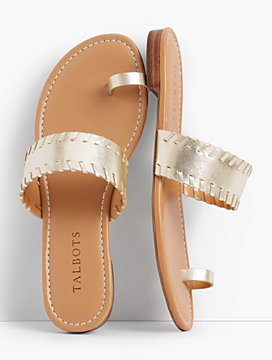 Gia Toe-Ring Sandals-Metallic Leather