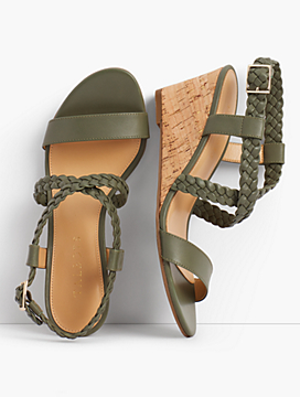 Royce Braided Leather Cork-Wedge Sandals