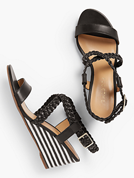 Royce Braided Leather Stripe-Cork-Wedge Sandals
