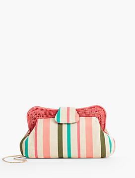Yarn-Dye Stripe Wicker-Trim Clutch